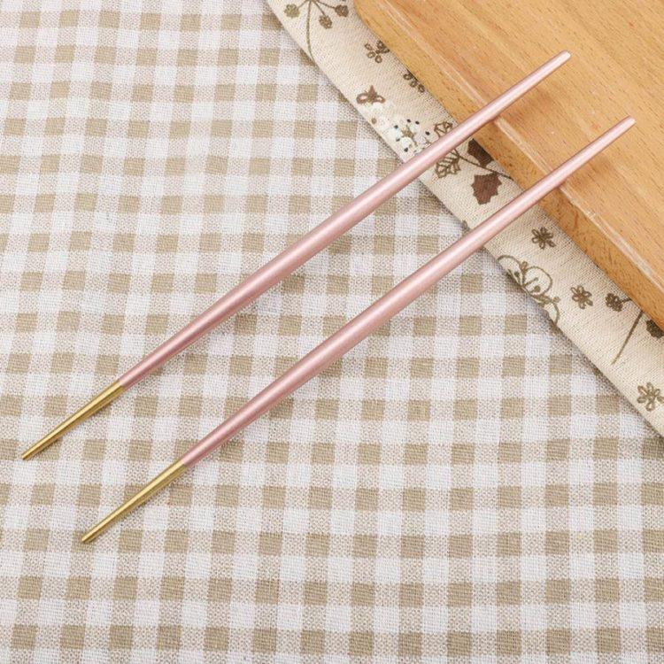 5 Pair Non-slip Flower printed Chop Sticks Stainless Steel Chopsticks HC