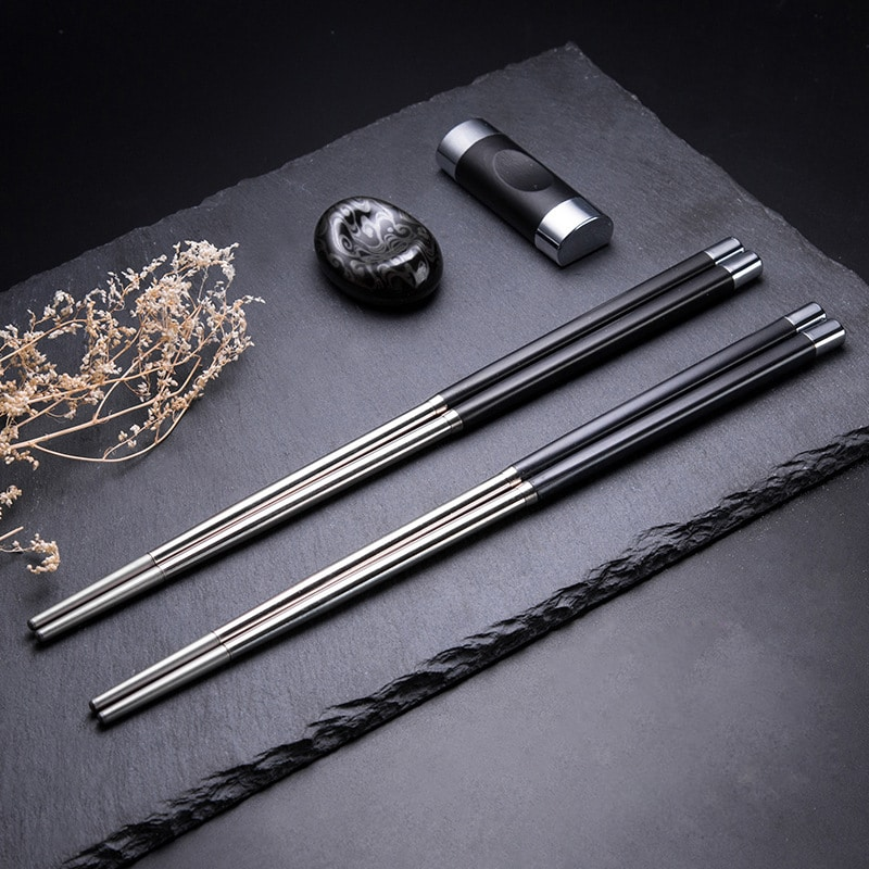 1//5 Pairs Chinese Non-slip Design Chop Sticks Stainless Steel Chopsticks PRC